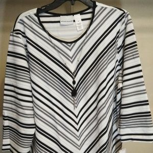 Alfred Dunner Women's Striped Long Sleeve Top